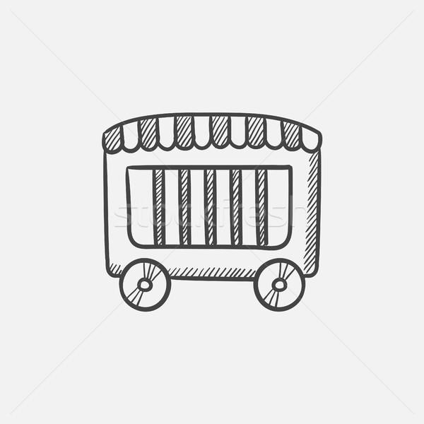 Cirkusz vagon rajz ikon háló mobil Stock fotó © RAStudio