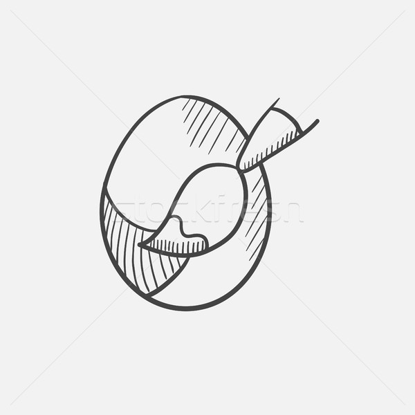 Stock photo: Painting of easter eggs sketch icon.