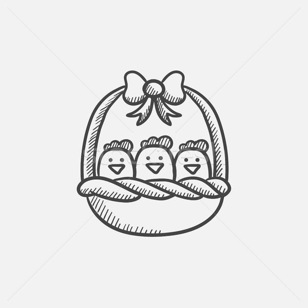 Sepet tok Paskalya civciv kroki ikon Stok fotoğraf © RAStudio