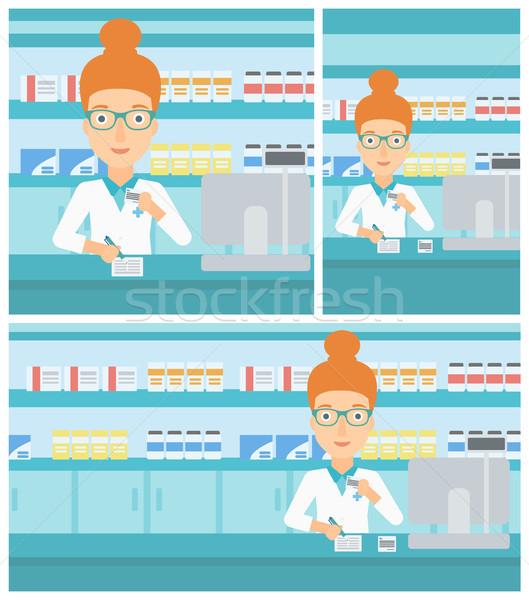 Farmacista iscritto prescrizione giovani femminile medici Foto d'archivio © RAStudio