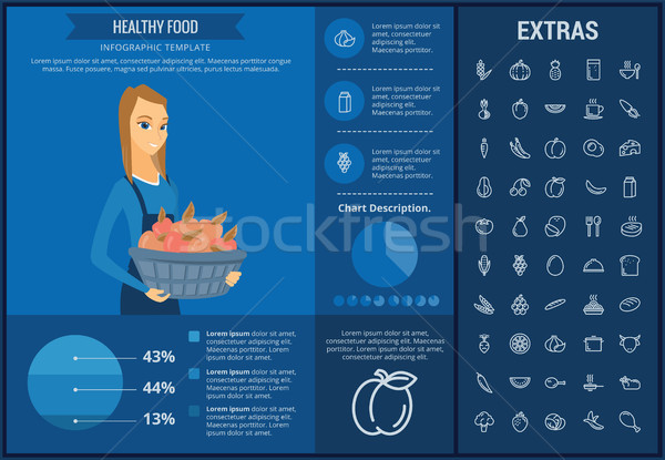 Stok fotoğraf: Sağlıklı · gıda · şablon · elemanları · simgeler · özelleştirilebilir