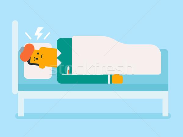 Hasta beyaz adam yatak ateş Stok fotoğraf © RAStudio
