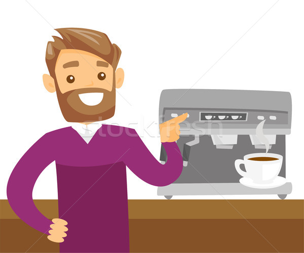 Young caucasian white man making coffee. Stock photo © RAStudio