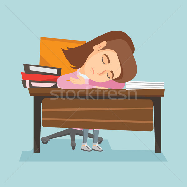 Сток-фото: кавказский · студент · спальный · столе · книгах · молодые