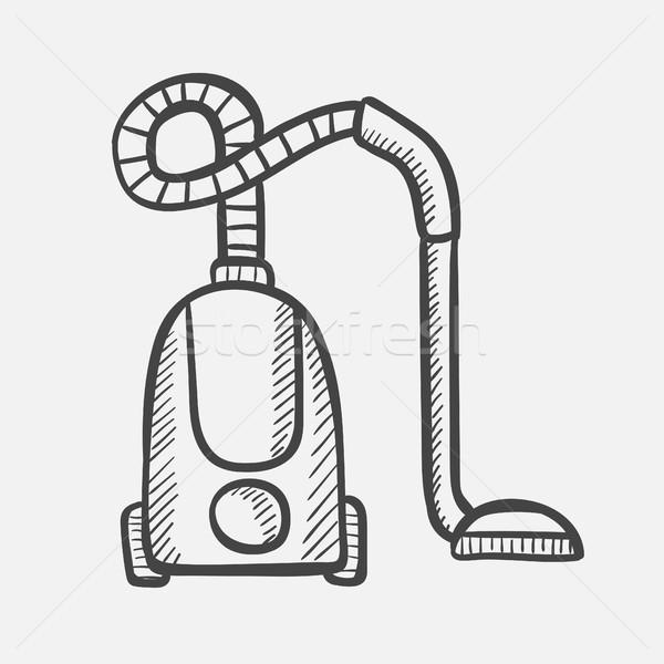 Porszívó kézzel rajzolt rajz ikon vektor skicc Stock fotó © RAStudio