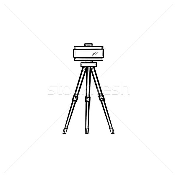 Theodolite on tripod hand drawn sketch icon. Stock photo © RAStudio