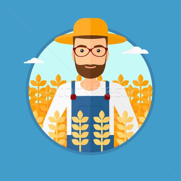 Férfi búzamező hipszter szakáll áll vektor Stock fotó © RAStudio