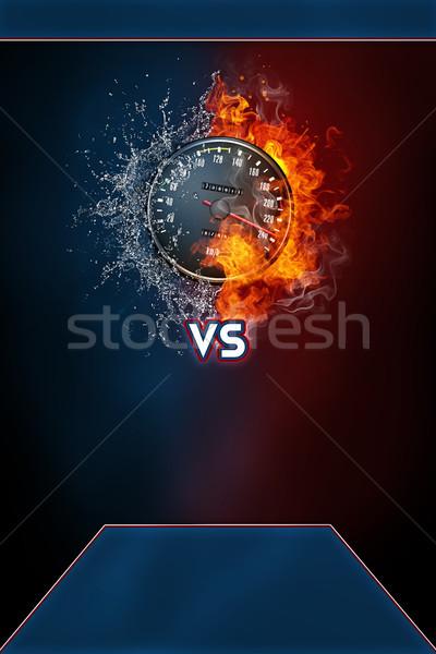 Velocímetro moderna anunciante plantilla vs texto Foto stock © RAStudio