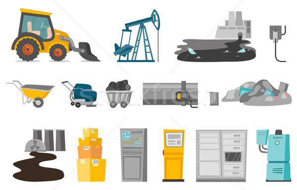 Ipari vektor rajz illusztrációk szett gyűjtemény Stock fotó © RAStudio