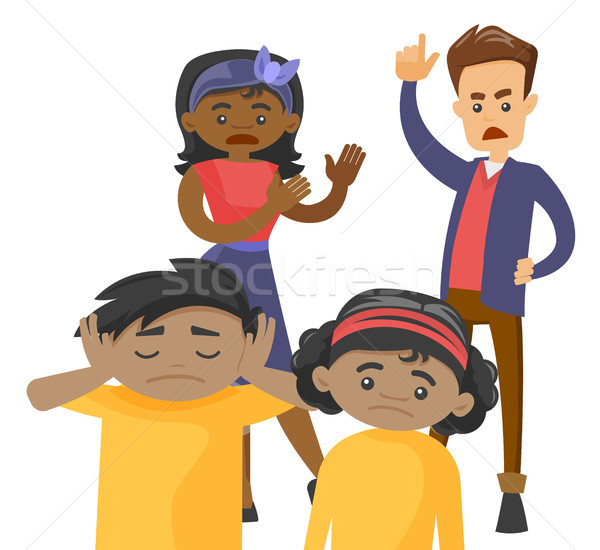 Multiracial parents scolding their mulatto kids. Stock photo © RAStudio