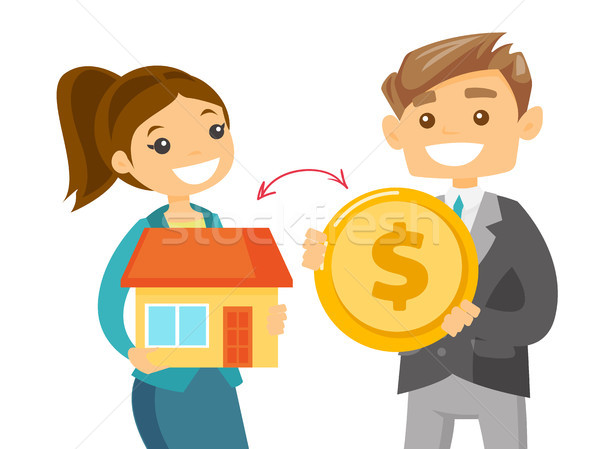 Realtor exchanging a house to the coin of a client Stock photo © RAStudio