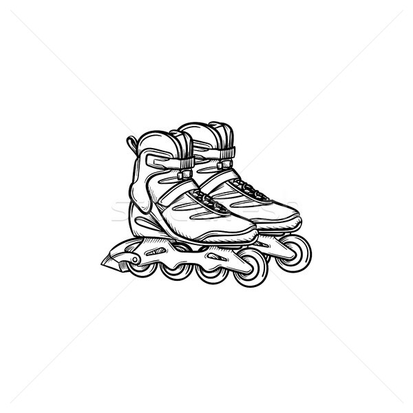 Roller shoes hand drawn sketch icon. Stock photo © RAStudio