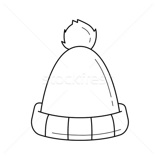 Winter hat vector line icon. Stock photo © RAStudio