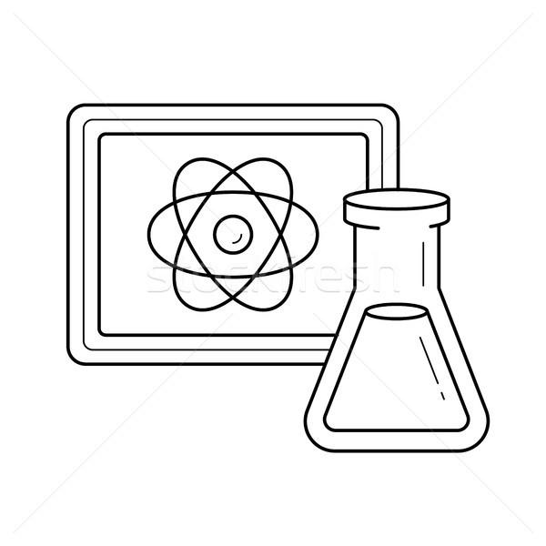 Foto d'archivio: Laboratorio · ricerca · vettore · line · icona · isolato
