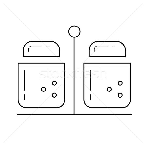 Salt and pepper vector line icon. Stock photo © RAStudio