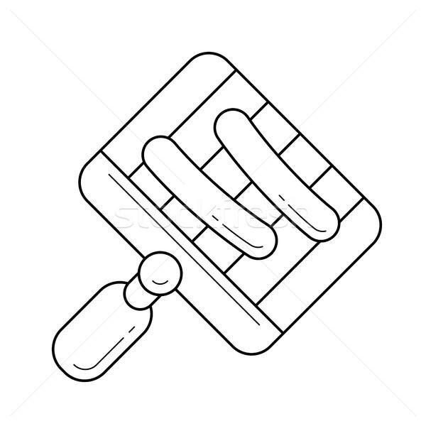 Parrilla cocina llama vector línea icono Foto stock © RAStudio
