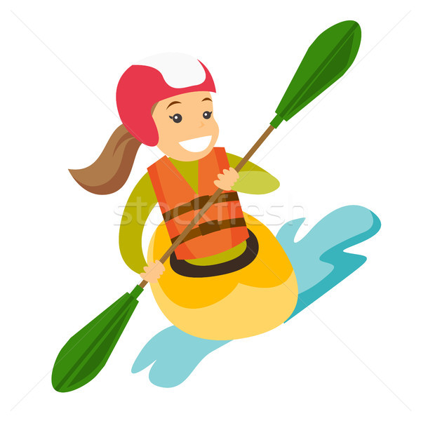 Young caucasian white woman riding a kayak. Stock photo © RAStudio