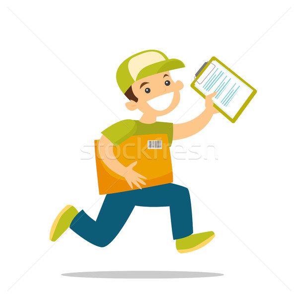 A courier running to deliver a package. Stock photo © RAStudio