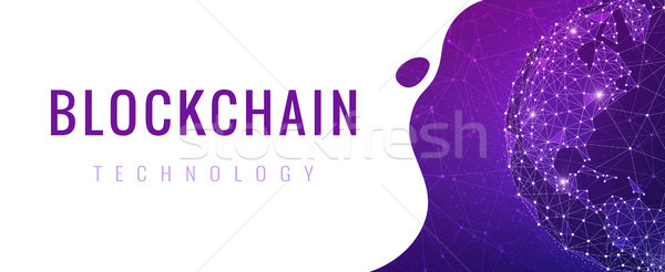 Blockchain technology futuristic hud ultraviolet banner. Stock photo © RAStudio