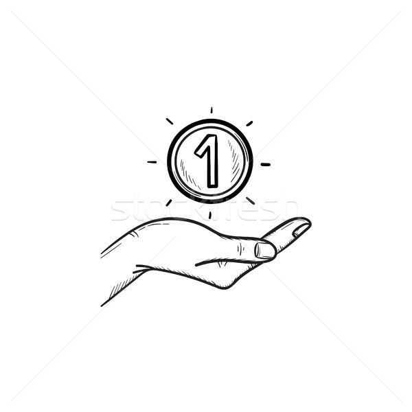 Kéz egy érme kézzel rajzolt skicc firka Stock fotó © RAStudio
