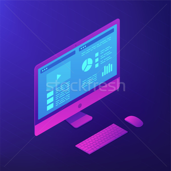 Personal computer software. Isometric vector 3d illustration. Stock photo © RAStudio