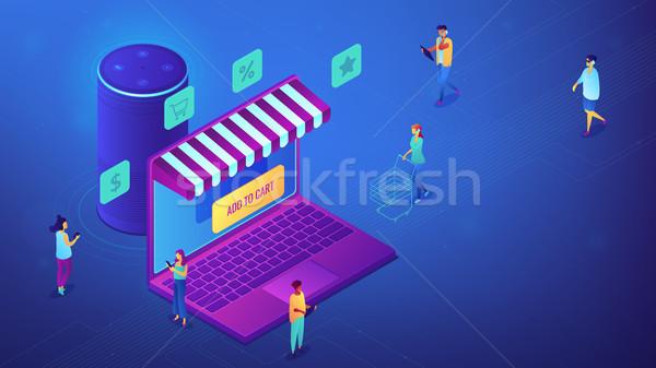 Isometric online shopping and smart speaker illustration. Stock photo © RAStudio