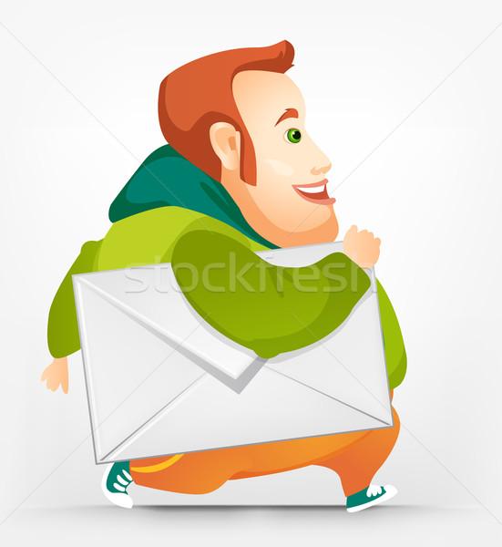 Vrolijk mollig man mail leuk werknemer Stockfoto © RAStudio