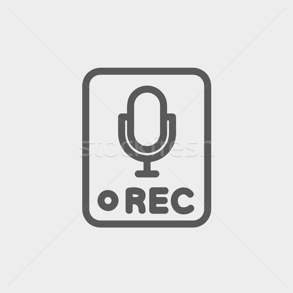 Recording station sign thin line icon Stock photo © RAStudio