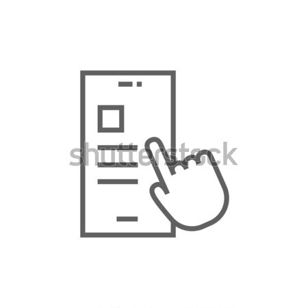 Smartphone and hand checking of work task schedule thin line icon Stock photo © RAStudio