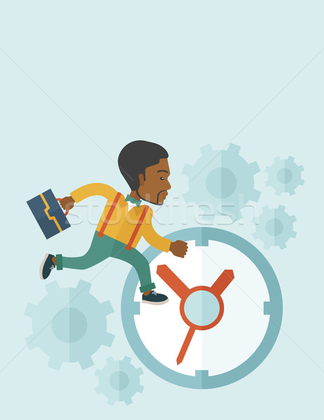 Worker with briefcase is running out of time. Stock photo © RAStudio