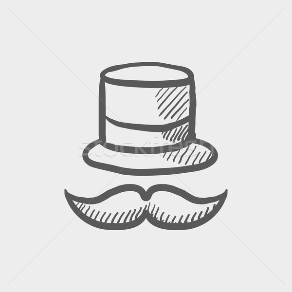 Vintage fashion hat and mustache sketch icon Stock photo © RAStudio