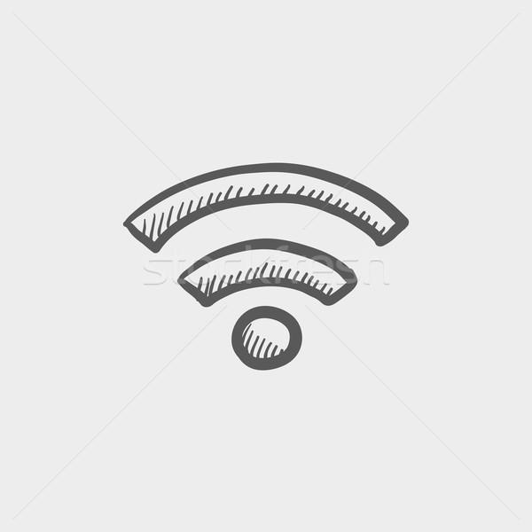 Wifi sketch icona web mobile Foto d'archivio © RAStudio