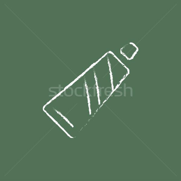 Buis tandpasta icon krijt Stockfoto © RAStudio