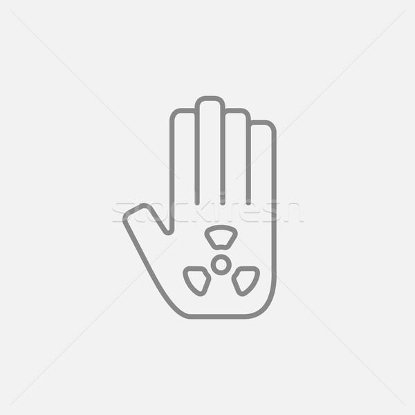 Promieniowanie podpisania dłoni line ikona internetowych Zdjęcia stock © RAStudio