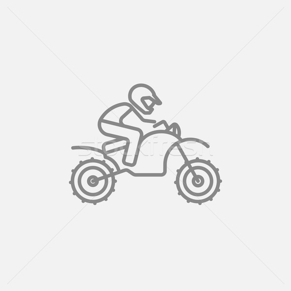 Stock photo: Man riding motocross bike line icon.