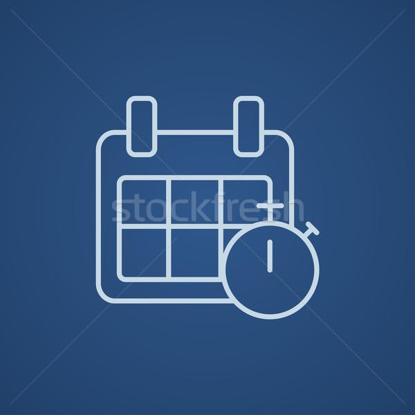 Foto stock: Calendario · cronógrafo · línea · icono · web · móviles