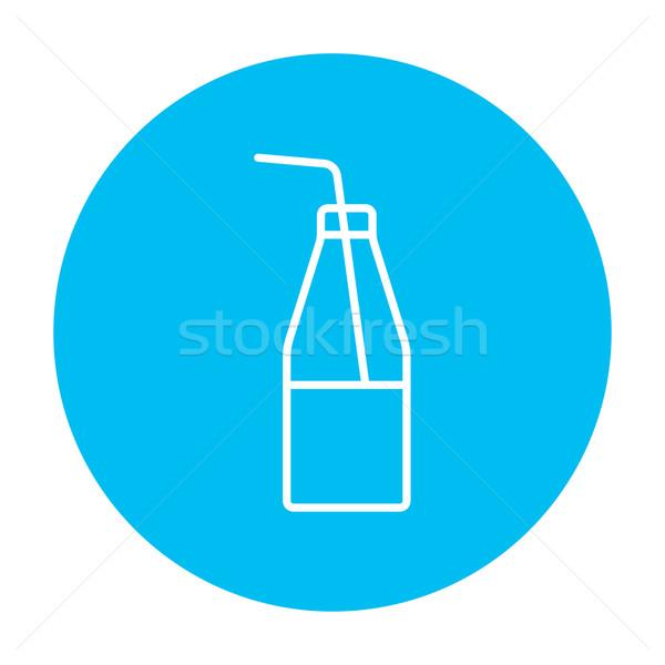 Glass bottle with drinking straw line icon. Stock photo © RAStudio