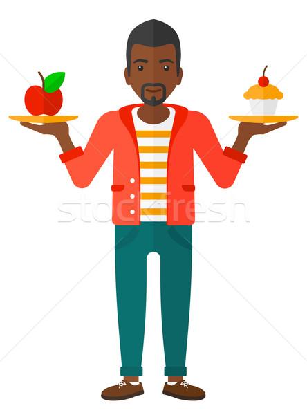 Człowiek jabłko ciasto ręce wyboru zdrowych Zdjęcia stock © RAStudio