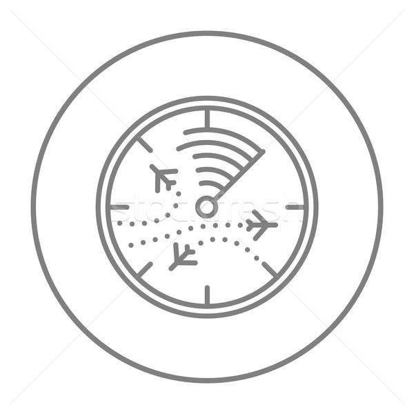 Radar képernyő repülőgépek vonal ikon háló Stock fotó © RAStudio