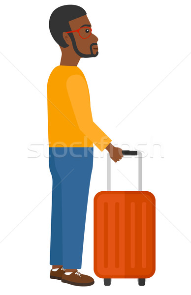 Homme permanent valise vecteur design illustration Photo stock © RAStudio