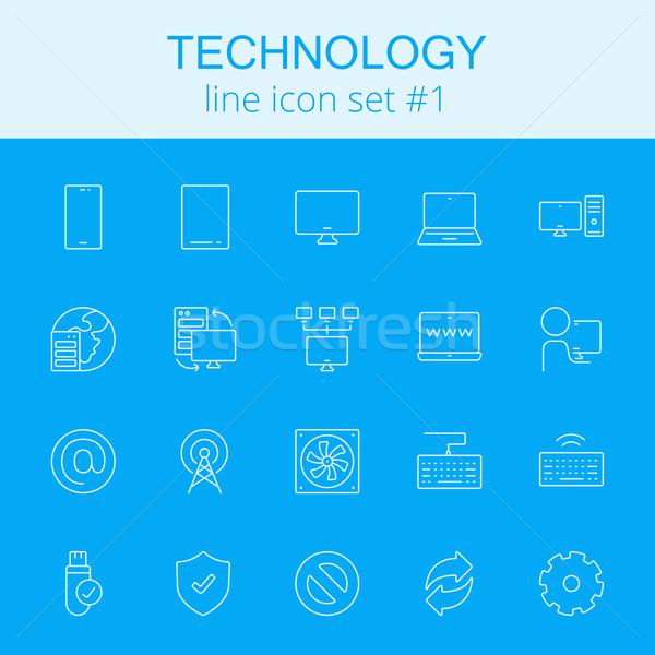 Stock fotó: Technológia · ikon · gyűjtemény · vektor · világoskék · ikon · izolált