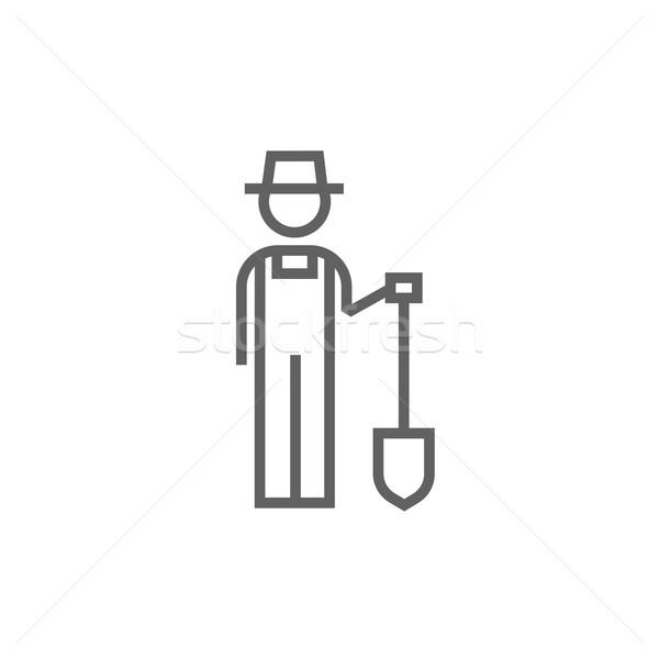 çiftçi kürek hat ikon köşeler web Stok fotoğraf © RAStudio