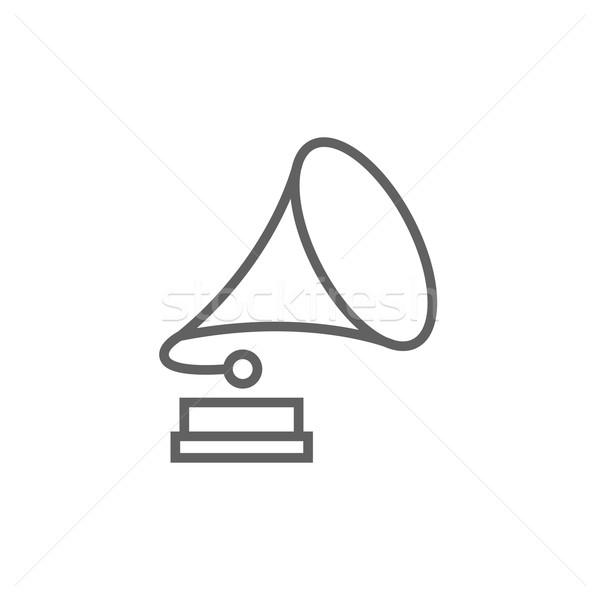 Gramofone linha ícone teia móvel Foto stock © RAStudio