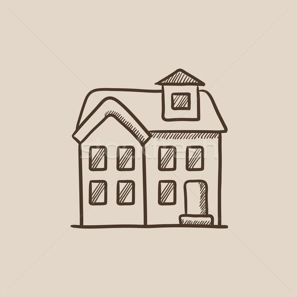 Deux maison individuelle croquis icône web mobiles Photo stock © RAStudio