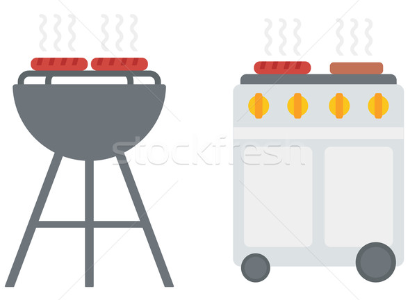 Kettle barbecue grill with cover and barbecue gas grill.  Stock photo © RAStudio