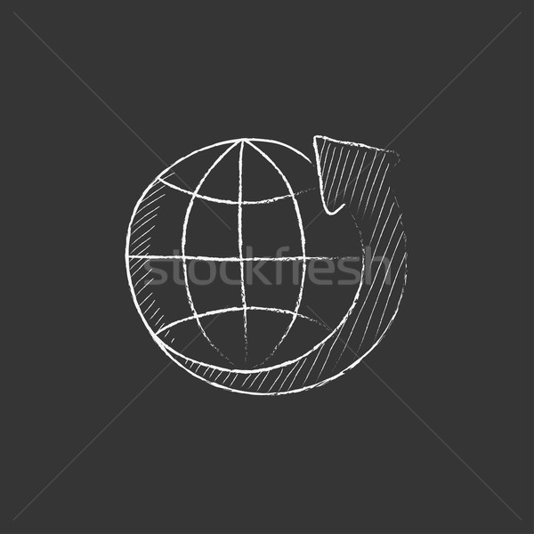 Earth and arrow around. Drawn in chalk icon. Stock photo © RAStudio