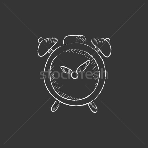 ébresztőóra rajzolt kréta ikon kézzel rajzolt vektor Stock fotó © RAStudio