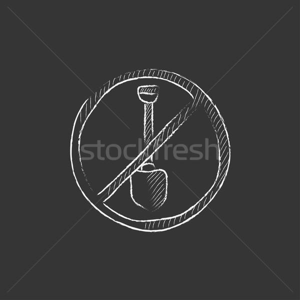 Pelle interdit signe craie icône Photo stock © RAStudio