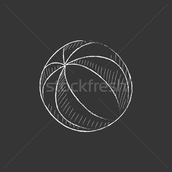 Strandbal krijt icon vector Stockfoto © RAStudio