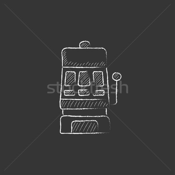 Játékautomata rajzolt kréta ikon kézzel rajzolt vektor Stock fotó © RAStudio
